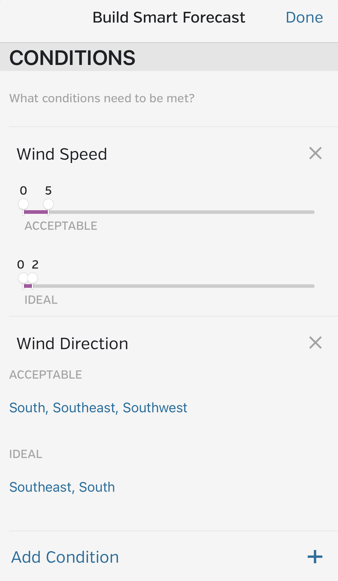 Wunderground smart forecast settings page.